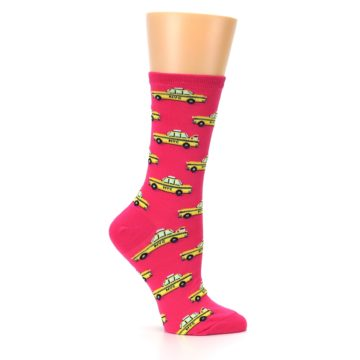 Image of Pink Yellow NYC Taxi Cabs Women's Dress Socks (side-1-25)