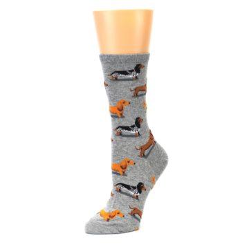 Image of Grey Dachshund Dogs Women's Dress Socks (side-2-09)