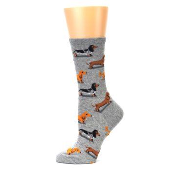 Image of Grey Dachshund Dogs Women's Dress Socks (side-2-11)