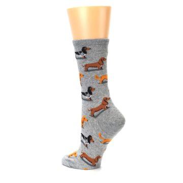 Image of Grey Dachshund Dogs Women's Dress Socks (side-2-back-14)