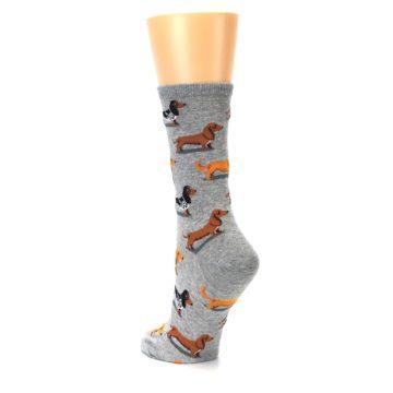 Image of Grey Dachshund Dogs Women's Dress Socks (side-2-back-15)