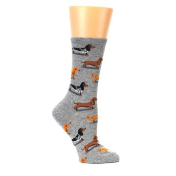 Image of Grey Dachshund Dogs Women's Dress Socks (side-1-25)