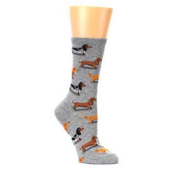 Image of Grey Dachshund Dogs Women's Dress Socks (side-1-26)