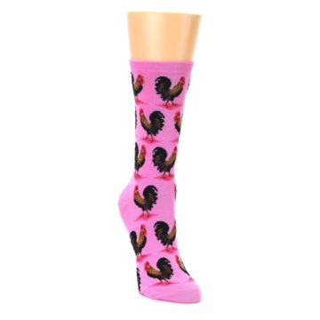 Image of Pink Rooster Chickens Women's Dress Socks (side-1-front-02)