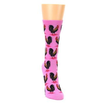 Image of Pink Rooster Chickens Women's Dress Socks (side-1-front-03)
