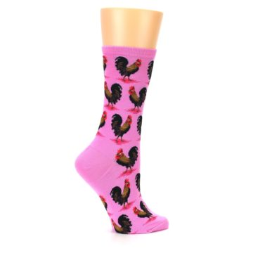 Image of Pink Rooster Chickens Women's Dress Socks (side-1-24)