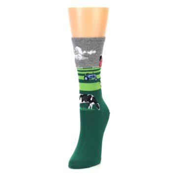 Image of Green Cows on Farm Women's Dress Socks (side-2-front-07)
