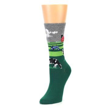 Image of Green Cows on Farm Women's Dress Socks (side-2-front-08)