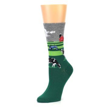 Image of Green Cows on Farm Women's Dress Socks (side-2-09)