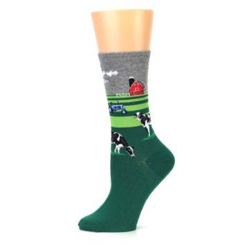 Image of Green Cows on Farm Women's Dress Socks (side-2-11)