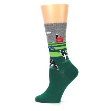 Image of Green Cows on Farm Women's Dress Socks (side-2-12)