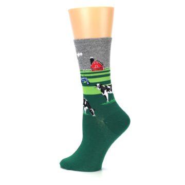 Image of Green Cows on Farm Women's Dress Socks (side-2-13)