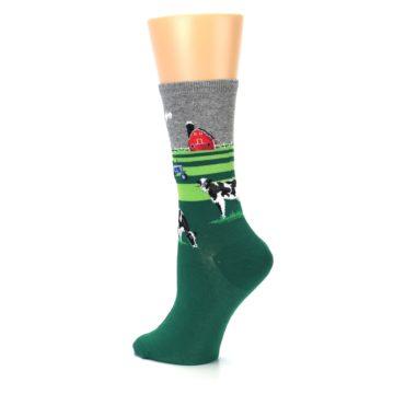 Image of Green Cows on Farm Women's Dress Socks (side-2-back-14)