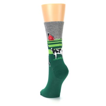 Image of Green Cows on Farm Women's Dress Socks (side-2-back-16)