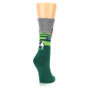 Image of Green Cows on Farm Women's Dress Socks (side-1-back-21)