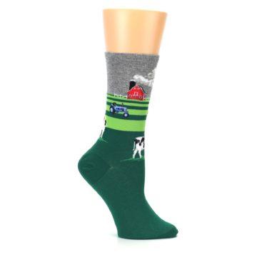 Image of Green Cows on Farm Women's Dress Socks (side-1-25)