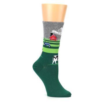 Image of Green Cows on Farm Women's Dress Socks (side-1-26)
