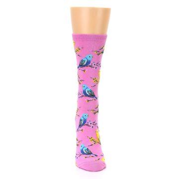 Image of Pink Parakeet Birds Women's Dress Socks (front-04)
