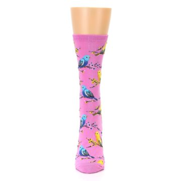 Image of Pink Parakeet Birds Women's Dress Socks (front-05)