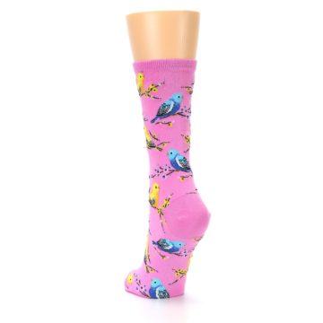 Image of Pink Parakeet Birds Women's Dress Socks (side-2-back-16)