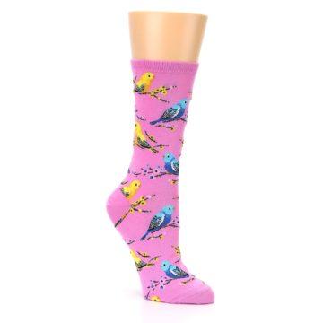 Image of Pink Parakeet Birds Women's Dress Socks (side-1-27)