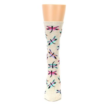 Image of Beige Multi Dragonflies Women's Dress Socks (front-05)