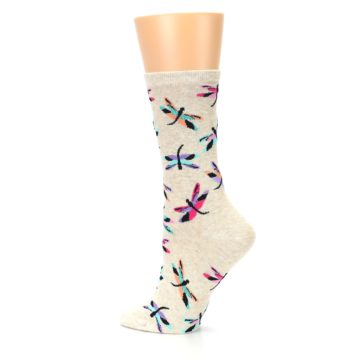 Image of Beige Multi Dragonflies Women's Dress Socks (side-2-13)