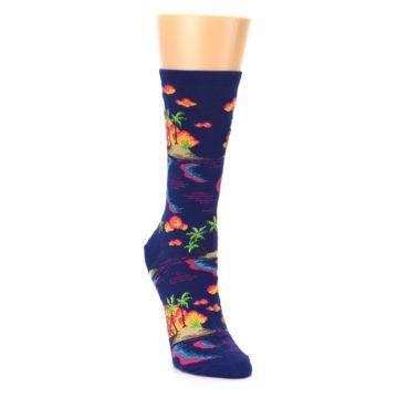 Image of Dark Blue Tropical Island Women's Dress Socks (side-1-front-02)