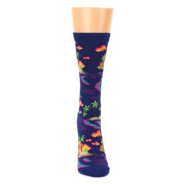 Image of Dark Blue Tropical Island Women's Dress Socks (front-04)