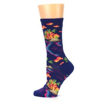 Image of Dark Blue Tropical Island Women's Dress Socks (side-2-12)