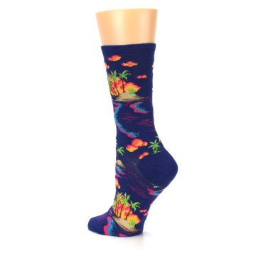 Image of Dark Blue Tropical Island Women's Dress Socks (side-2-back-14)