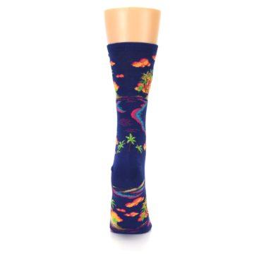 Image of Dark Blue Tropical Island Women's Dress Socks (back-19)