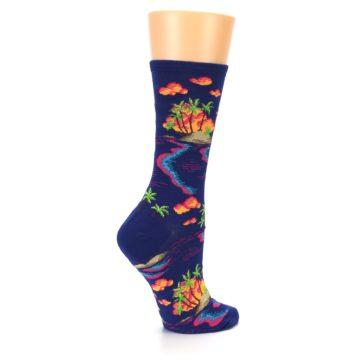 Image of Dark Blue Tropical Island Women's Dress Socks (side-1-23)