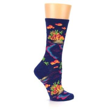 Image of Dark Blue Tropical Island Women's Dress Socks (side-1-24)