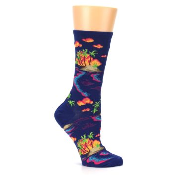 Image of Dark Blue Tropical Island Women's Dress Socks (side-1-25)