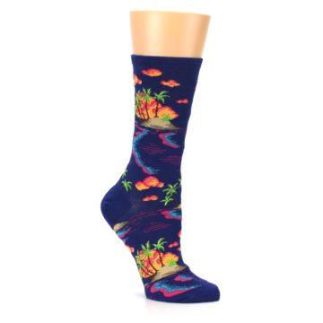 Image of Dark Blue Tropical Island Women's Dress Socks (side-1-26)
