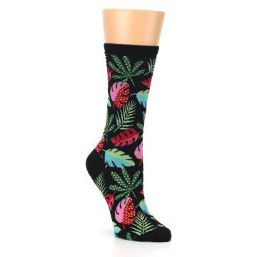 Black Tropical Leaf Socks for Women by Hot Sox
