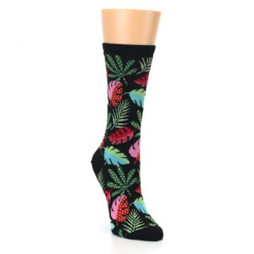 Image of Black Tropical Leaves Women's Dress Socks (side-1-front-02)
