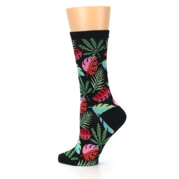 Image of Black Tropical Leaves Women's Dress Socks (side-2-13)