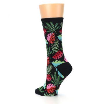 Image of Black Tropical Leaves Women's Dress Socks (side-2-back-14)