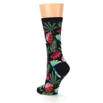 Image of Black Tropical Leaves Women's Dress Socks (side-2-back-15)