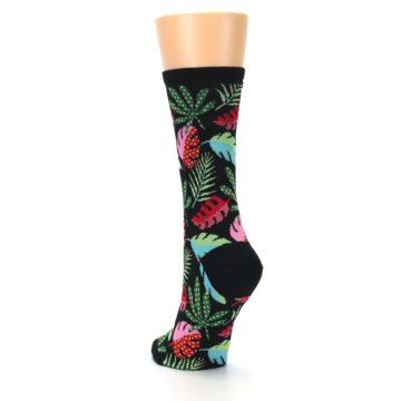 Image of Black Tropical Leaves Women's Dress Socks (side-2-back-16)
