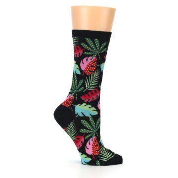 Image of Black Tropical Leaves Women's Dress Socks (side-1-25)