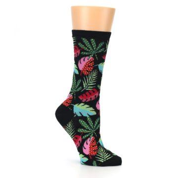 Image of Black Tropical Leaves Women's Dress Socks (side-1-26)