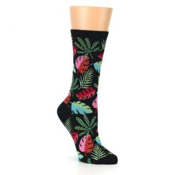 Image of Black Tropical Leaves Women's Dress Socks (side-1-27)
