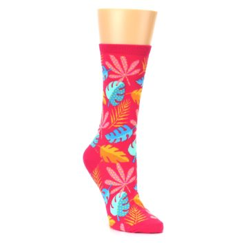Pink Tropical Leaf Socks for Women by Hot sox