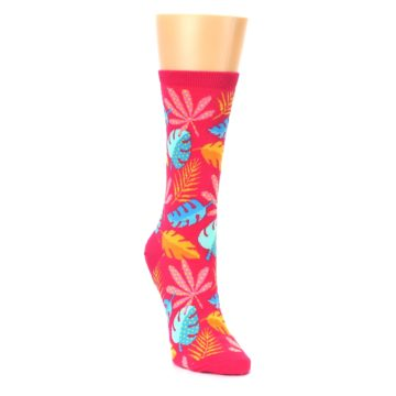 Image of Pink Tropical Leaves Women's Dress Socks (side-1-front-02)