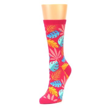 Image of Pink Tropical Leaves Women's Dress Socks (side-2-front-08)