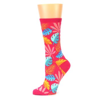 Image of Pink Tropical Leaves Women's Dress Socks (side-2-10)