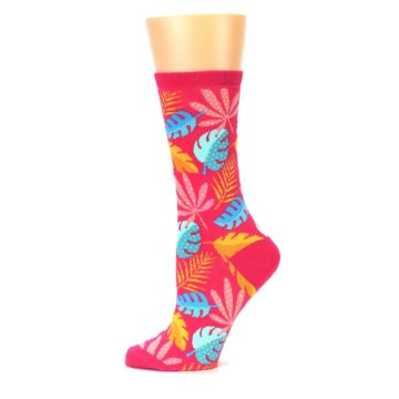 Image of Pink Tropical Leaves Women's Dress Socks (side-2-11)